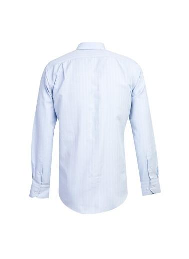 Kiğılı Uzun Kol Regular Fit Desenli Gömlek Mavi
